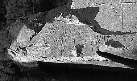 Djebel Tjawty graffito of King Scorpion I (J.C. Darnell - D. Darnell,  1995-96 Annual Report in the Abzu Chicago Oriental Institute page)